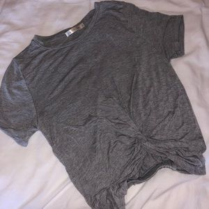 Heart Hips: Gray Knotted Crop Top